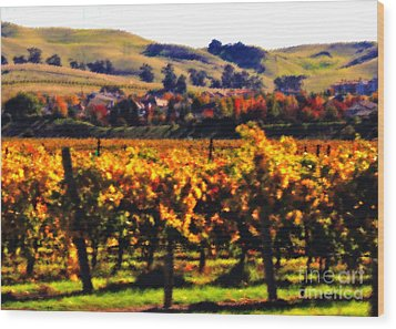 Autumn In The Valley 2 - Digital Painting Wood Print by Carol Groenen