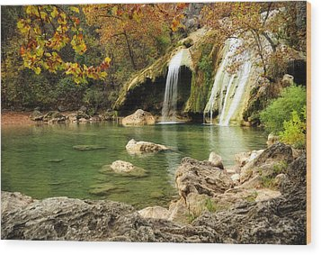 Autumn In Turner Falls Wood Print by Iris Greenwell