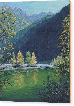 Autumn Knik River Wood Print by Kurt Jacobson