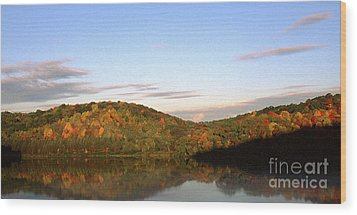 Autumn Lake Panoramic Wood Print by Thomas R Fletcher