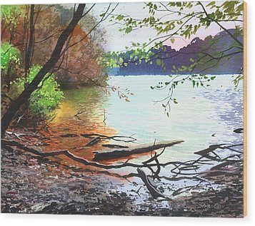 Autumn Lake Wood Print by Sergey Zhiboedov