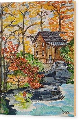 Autumn Leaves Wood Print by Annamarie Sidella-Felts