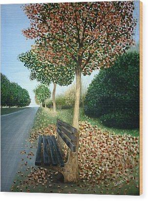 Autumn Leaves Wood Print by Gizelle Perez