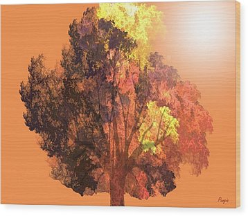 Wood Print featuring the digital art Autumn Leaves by John Pangia
