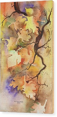 Autumn Leaves Wood Print by Mary Kay Holladay