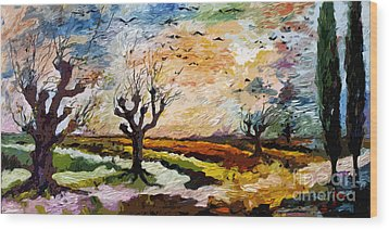 Autumn Migration Panoramic Landscape Wood Print by Ginette Callaway