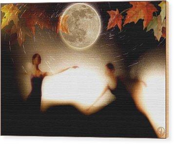 Autumn Moon Dance Wood Print by Gun Legler