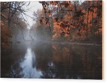 Autumn Morning By Wissahickon Creek Wood Print by Bill Cannon