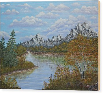 Autumn Mountains Lake Landscape Wood Print by Georgeta  Blanaru