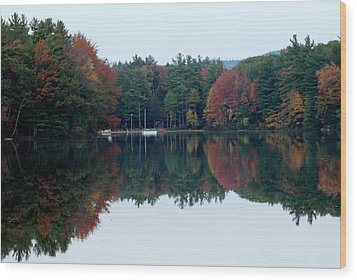 Autumn On The Lake Wood Print by Lois Lepisto