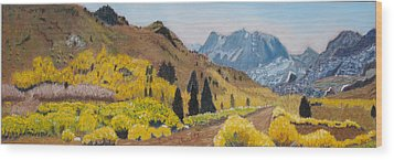 Autumn On The Road Less Traveled Wood Print