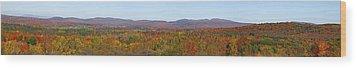 Autumn Panorama Brome Quebec Canada Wood Print by David Chapman