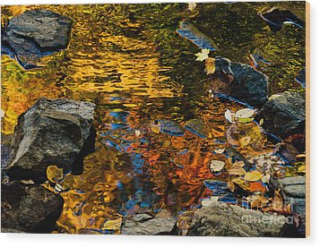 Autumn Reflections Wood Print by Cheryl Baxter