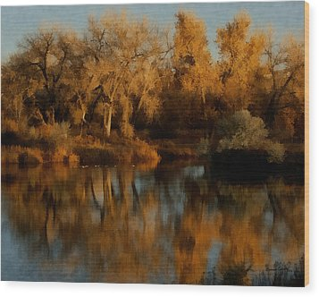 Autumn Reflections Painterly Wood Print by Ernie Echols