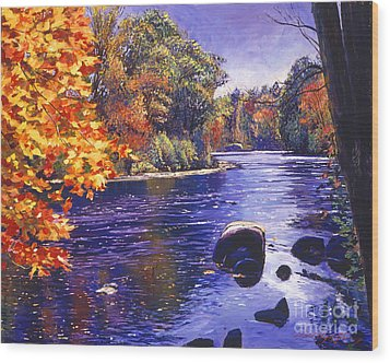 Autumn River Wood Print by David Lloyd Glover