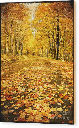 Autumn Road Wood Print by Darren Fisher