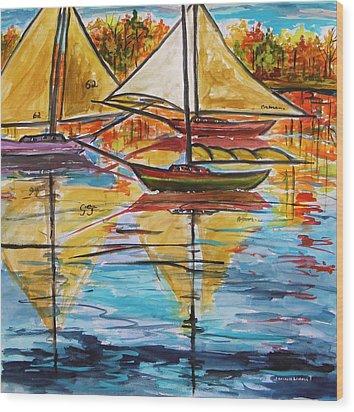 Autumn Sailboats Wood Print by John Williams
