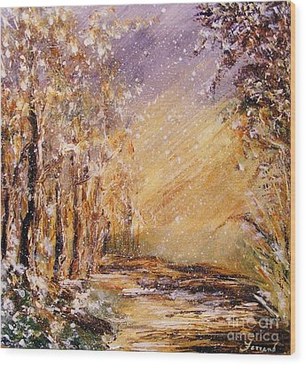 Wood Print featuring the painting Autumn Snow by Karen  Ferrand Carroll