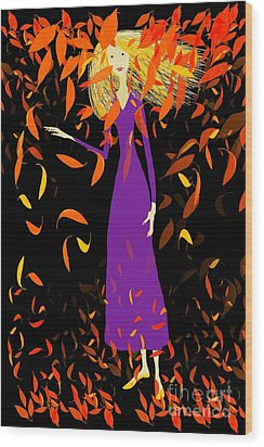 Wood Print featuring the digital art Autumn Spirit by Barbara Moignard