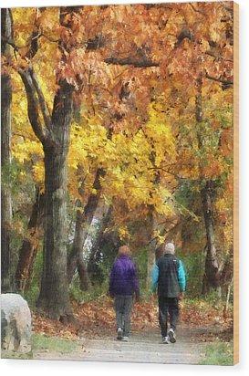 Autumn Stroll Wood Print by Susan Savad