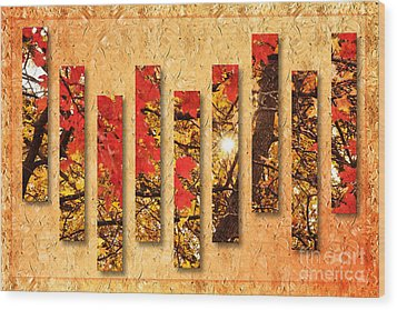 Autumn Sunrise Painterly Abstract Wood Print by Andee Design