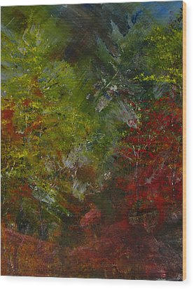 Autumn Sunshine Abstract Wood Print by Sherry Robinson