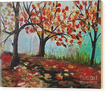 Autumn Trail Wood Print by Trilby Cole