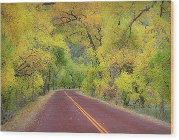 Autumn Trees On Road Wood Print by Royce Bair