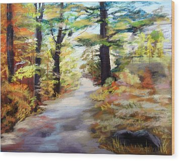 Autumn Walk In The Woods Wood Print by Trudy Morris