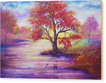Autumn Waters Wood Print by Ann Marie Bone