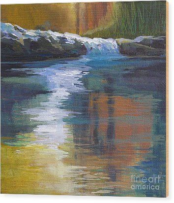 Autumnal Reflections Wood Print by Melody Cleary