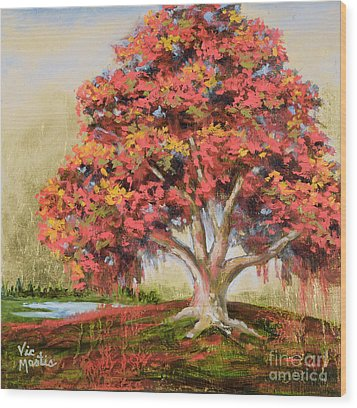 Autumn's Delight Wood Print by Vic  Mastis