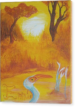Wood Print featuring the painting Autumnul Mother Evening by Christophe Ennis