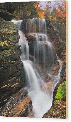 Avalanche Falls - Franconia Notch Wood Print by Thomas Schoeller