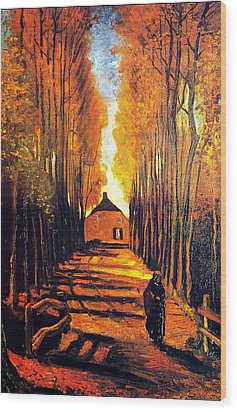 Avenue At Poplars Wood Print by Sumit Mehndiratta