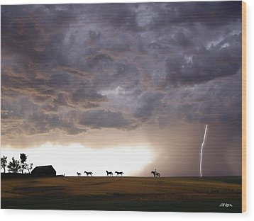 Awesome Storm Wood Print by Bill Stephens
