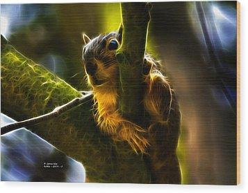 Awww Shucks- Fractal - Robbie The Squirrel Wood Print by James Ahn