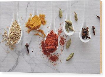 Ayurvedic Warming Spices Wood Print by Shana Novak