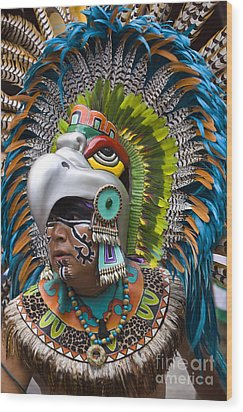 Wood Print featuring the photograph Aztec Eagle Dancer - Mexico by Craig Lovell