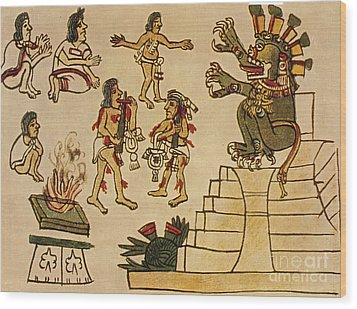 Aztec Priests Appease Mictlantecuhtli Wood Print by Photo Researchers