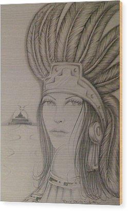Aztec Princess Wood Print by  Rene Nava