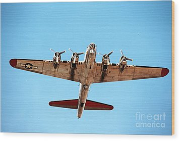 Wood Print featuring the photograph B-17 Bomber - Technicolor by Thanh Tran