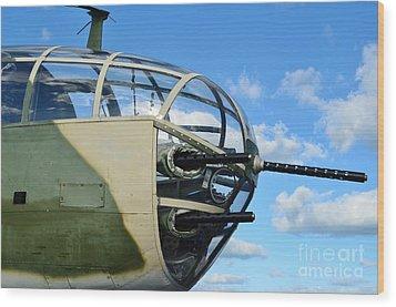 B-25j Nose Wood Print by Lynda Dawson-Youngclaus