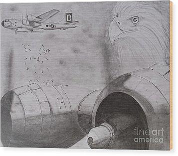B-29 Bombing Run Over Europe Wood Print by Brian Hustead