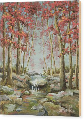 Wood Print featuring the painting Babbling Brook by Vic  Mastis