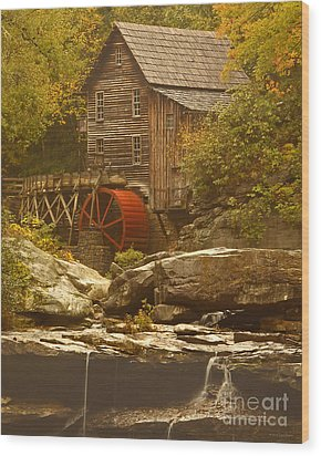 Babcock Glade Creek Grist Mill Autumn  Wood Print by Nature Scapes Fine Art
