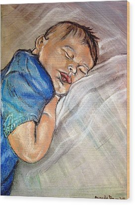 Wood Print featuring the pastel baby Baptism by Amanda Dinan