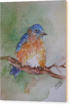 Wood Print featuring the painting Baby Blue Bird by Gloria Turner