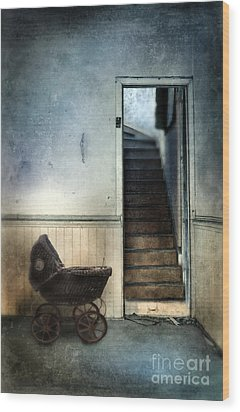 Baby Buggy In Abandoned House Wood Print by Jill Battaglia