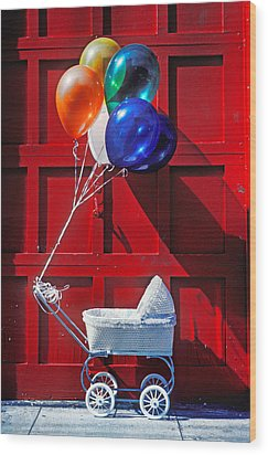 Baby Buggy With Balloons  Wood Print by Garry Gay
